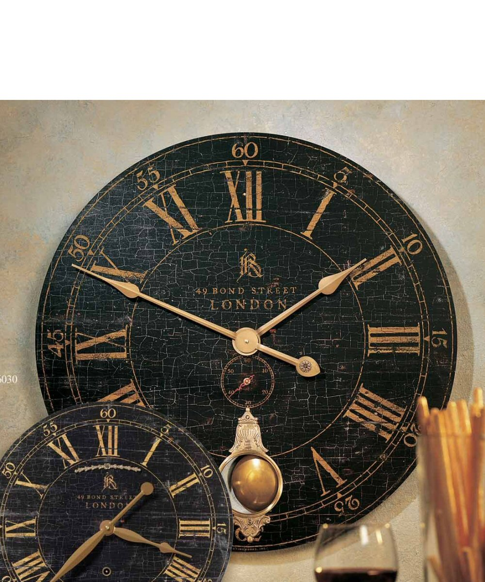 "18""H Bond Street Black Wall Clock"
