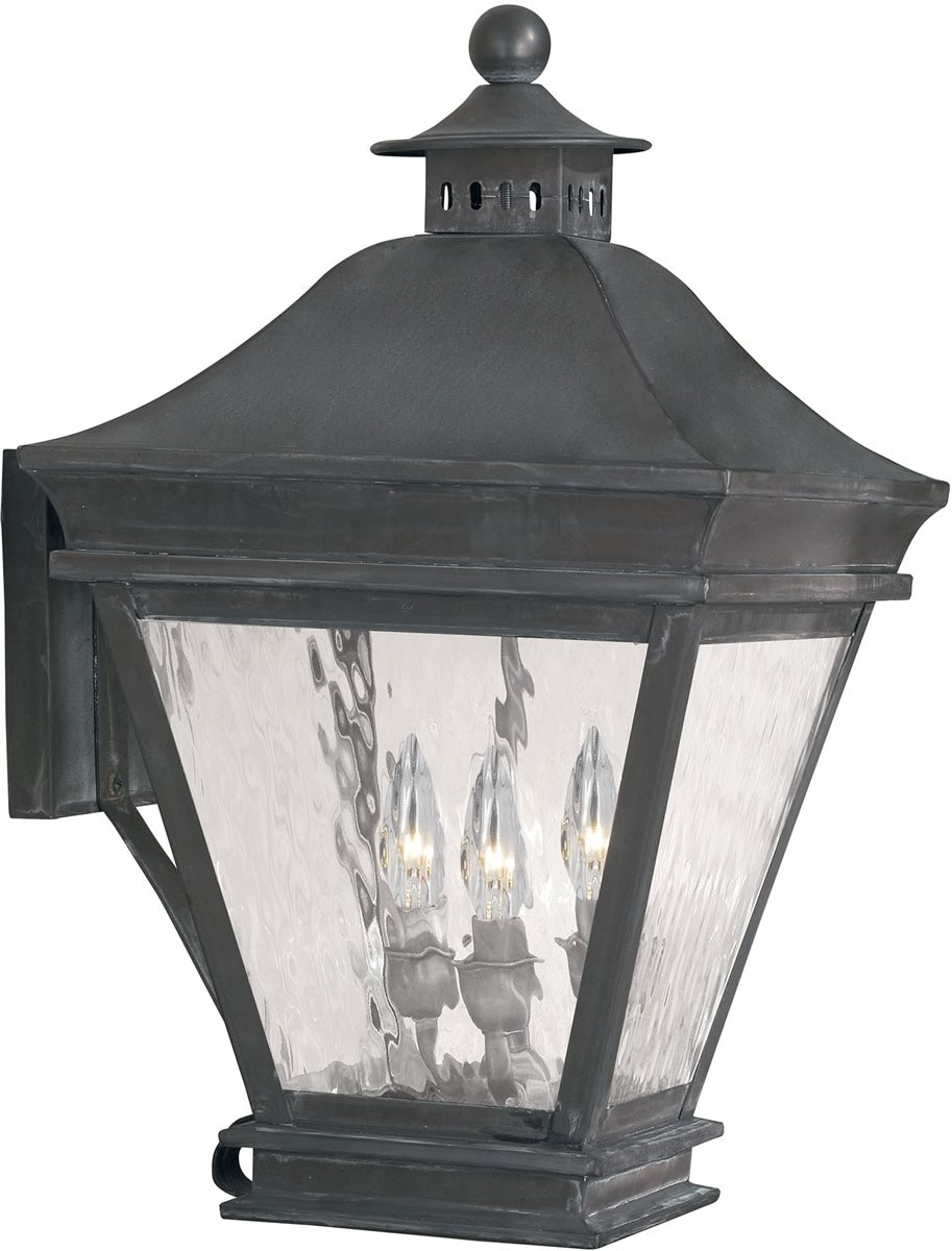 "20""H Landings Outdoor Wall Lantern Charcoal/Water Glass"