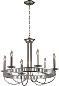 "29""W Braxton 6-Light Chandelier Polished Nickel"