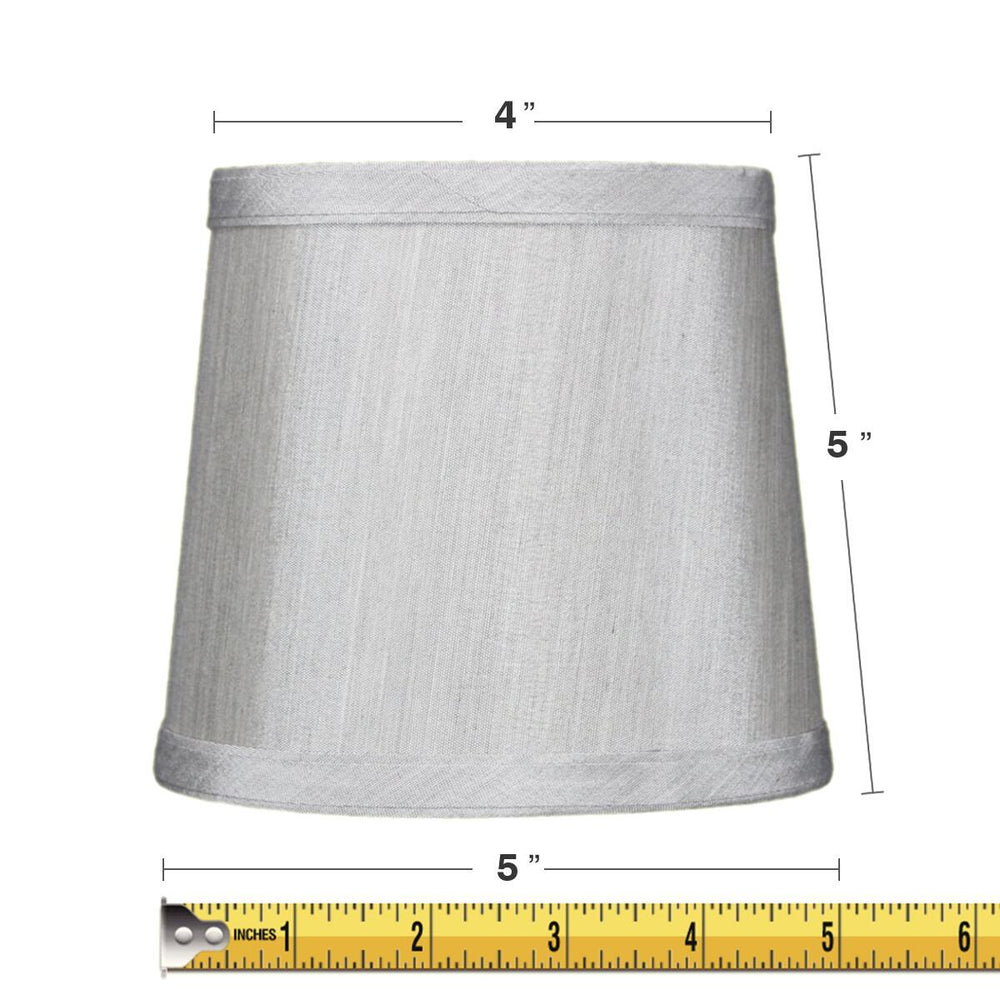 "6""W x 5""H Grey Drum Chandelier Clip-On Lampshade"