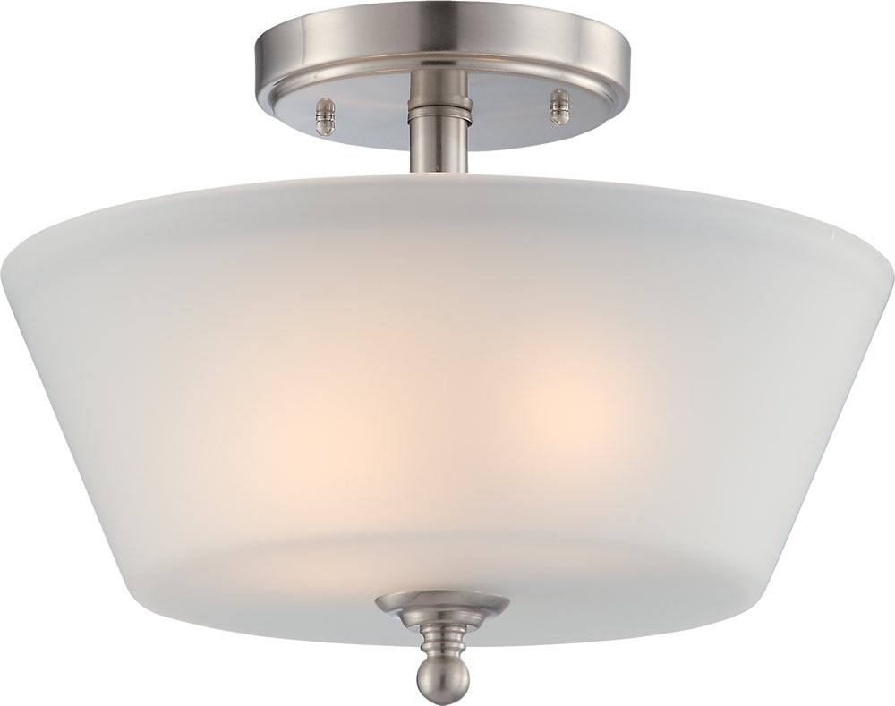 "13""W Surrey 2-Light Close-to-Ceiling Brushed Nickel"