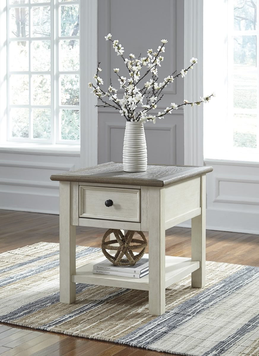 "25""H Bolanburg Rectangular End Table Two-tone"