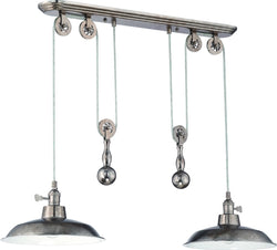 0-009970>2-Light Pulley Pendant Light Tarnished Silver