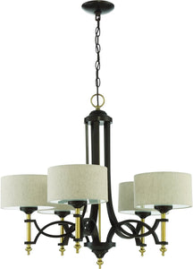 Colonial 5-Light Chandelier Antique Gold/Bronze