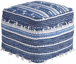 Anthony Pouf Blue/White