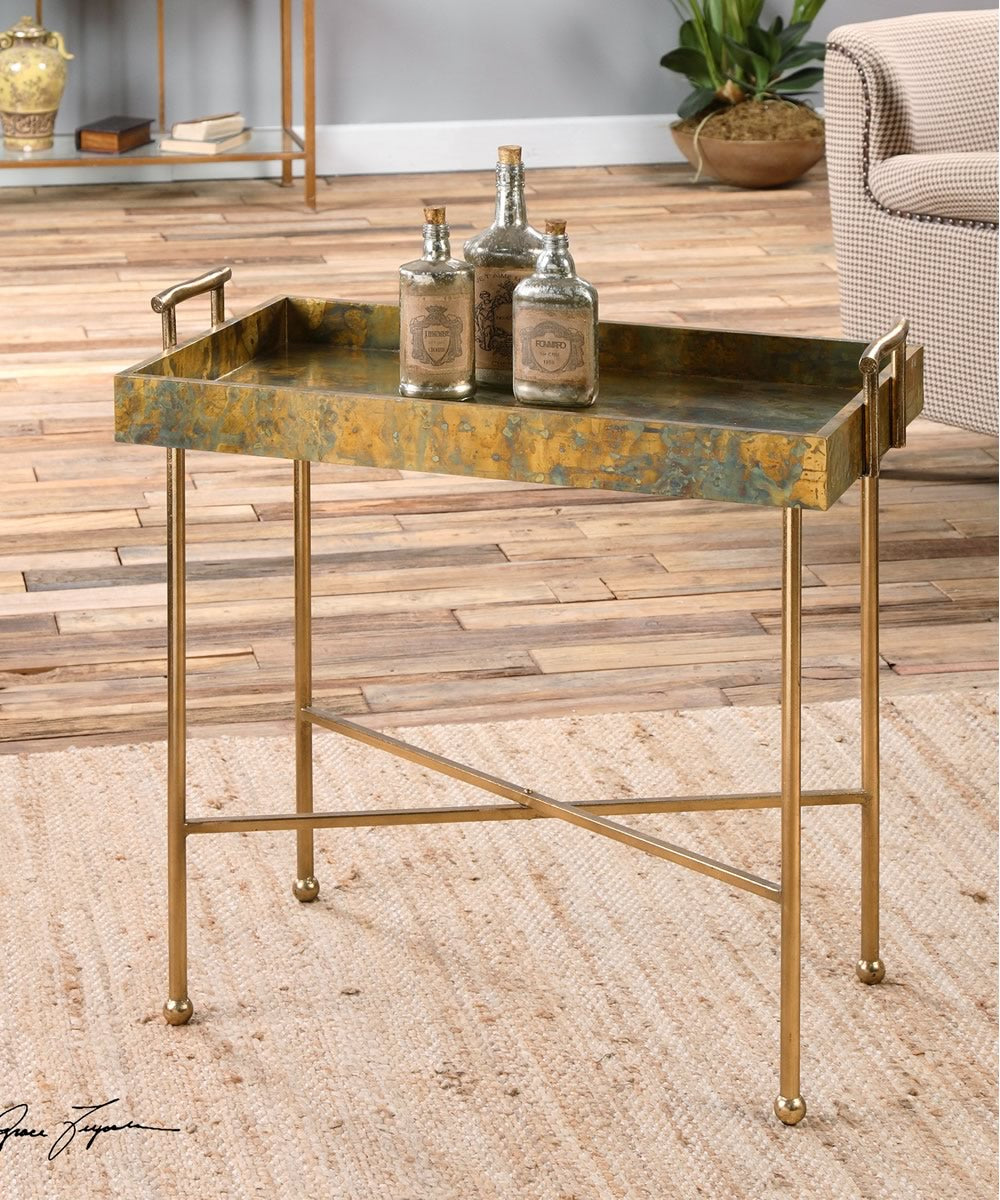 "30""H Couper Oxidized Tray Table"