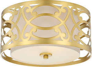 "15""W Filigree 2-Light Close-to-Ceiling Natural Brass"