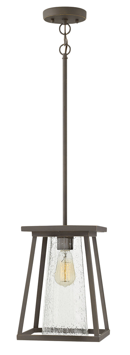 Burke 1-Light Outdoor Hanging Light in Oil Rubbed Bronze with Clear
