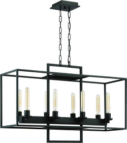 0-009055>Cubic 8-Light Chandelier Aged Bronze Brushed