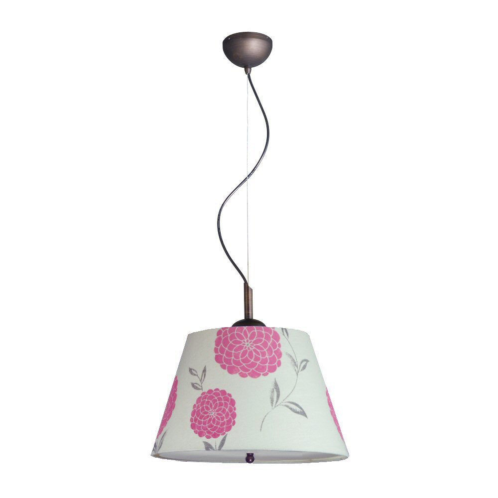 "16""W Gold-laced Cafe Pendant Light with Floral Pink Barrel Shade and Diffuser"