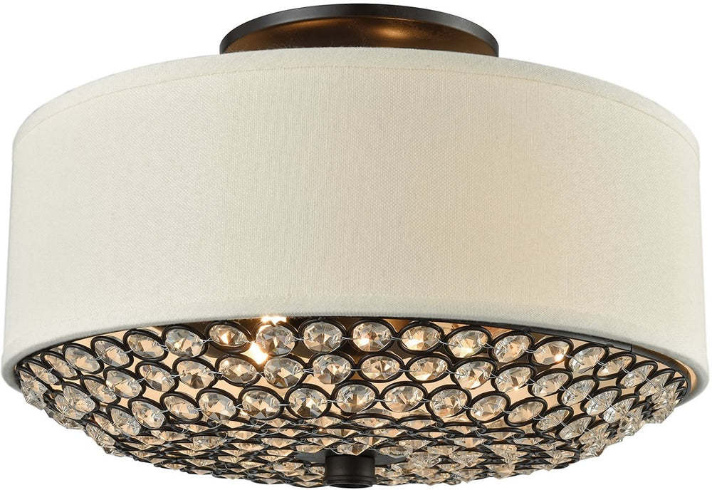 "12""W Webberville 2-Light Semi Flush Oil Rubbed Bronze/Beige Shade/Clear Crystals"