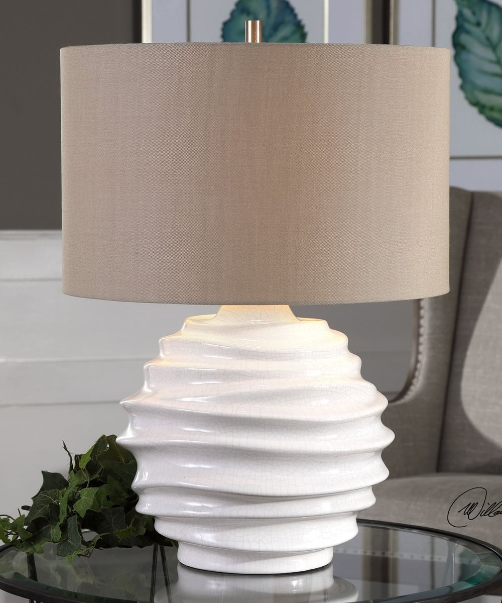 "25""H Gisasa Crackled White Lamp"