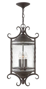 Casa 3-Light Outdoor Hanging Light in Olde Black with Clear Seedy