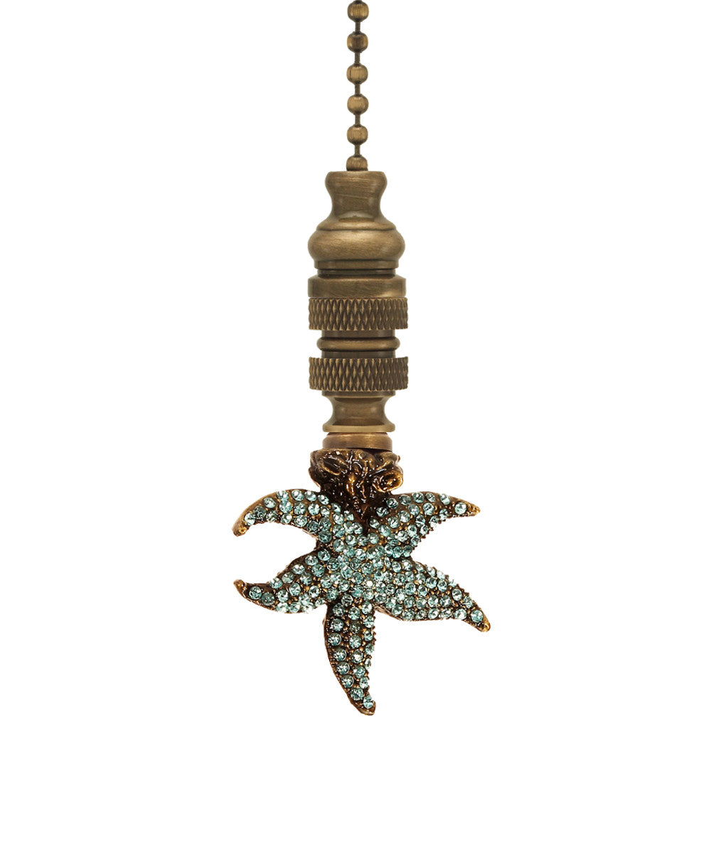 "2""W Starfish with Aagean Blue Glass Ceiling Fan Pull Antique Metal"
