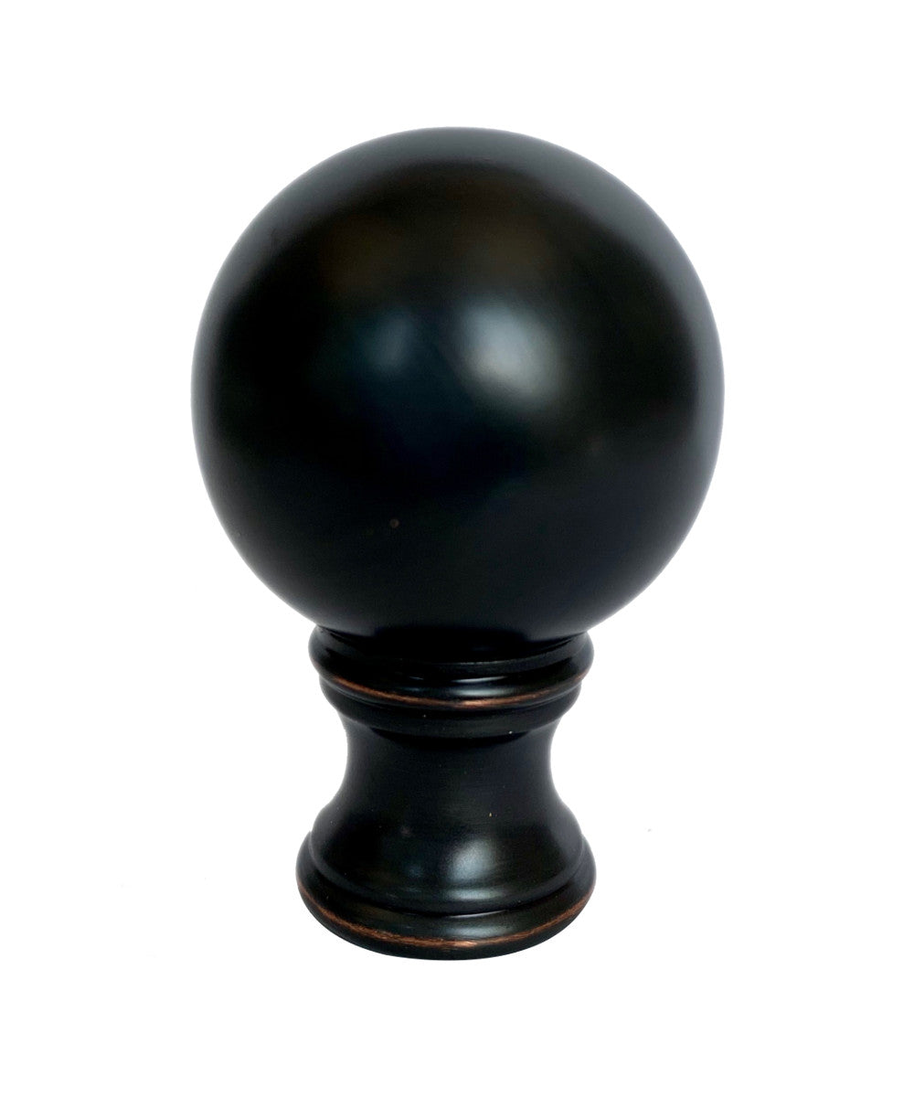 "2""H Sphere Lamp Shade Finial Oiled Bronze"