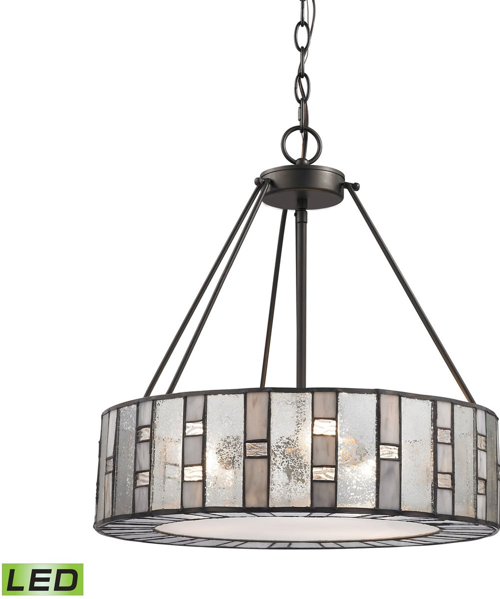 "18""W Ethan 3-Light LED Chandelier Tiffany Bronze"