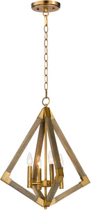 Vector 4-Light Pendant Weathered Oak / Antique Brass