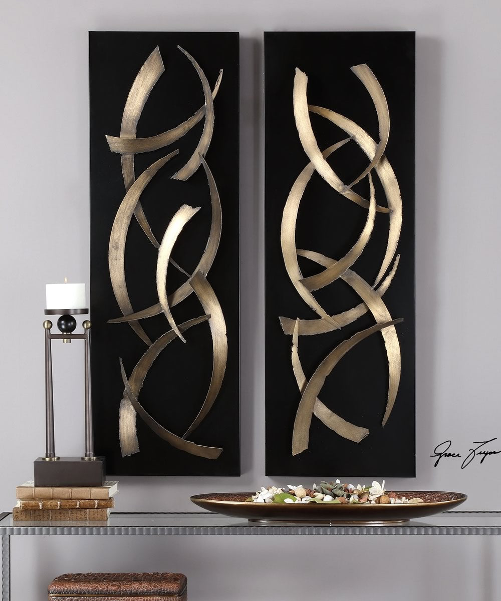 Brushstrokes Metal Wall Art, Set of 2