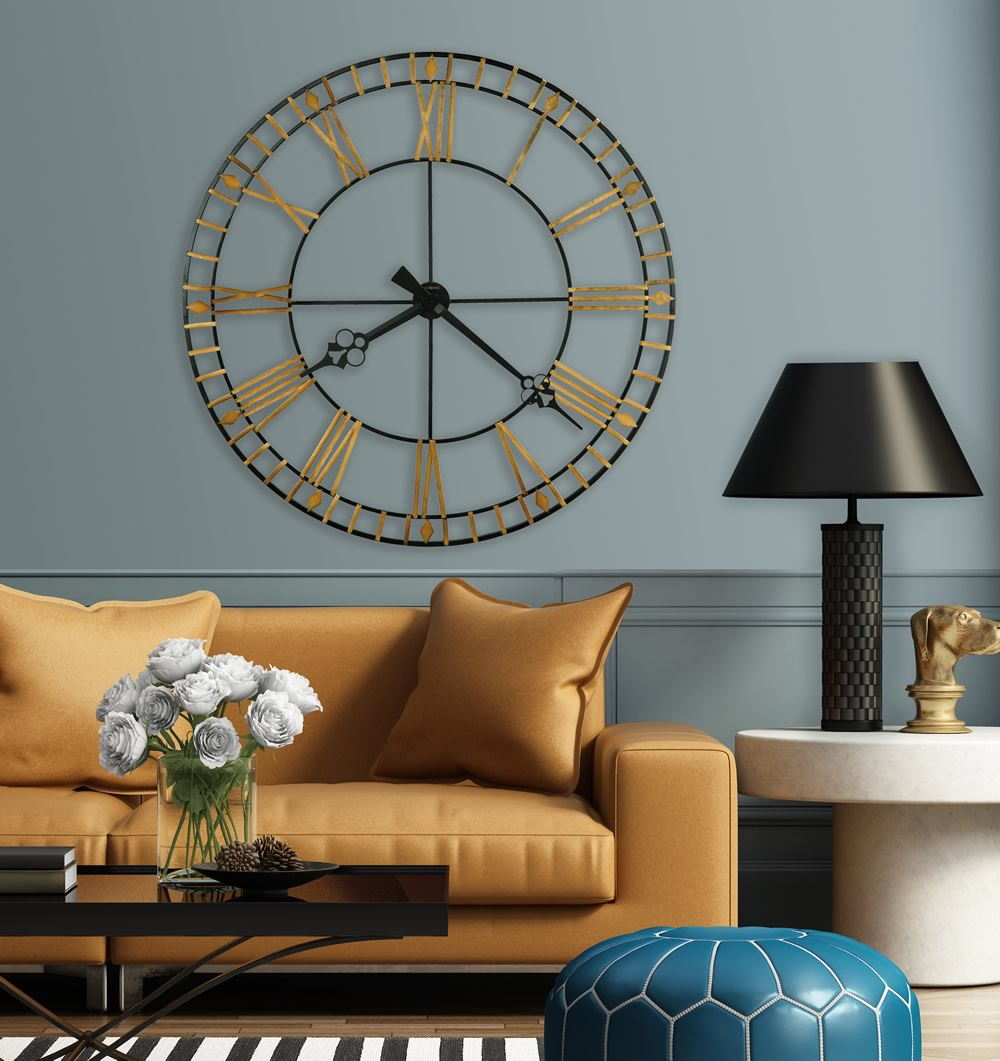"47""H Avante Wall Clock Black and Antique Gold"