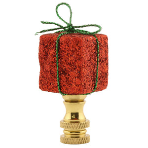 "2""H Red Christmas Gift Finial"