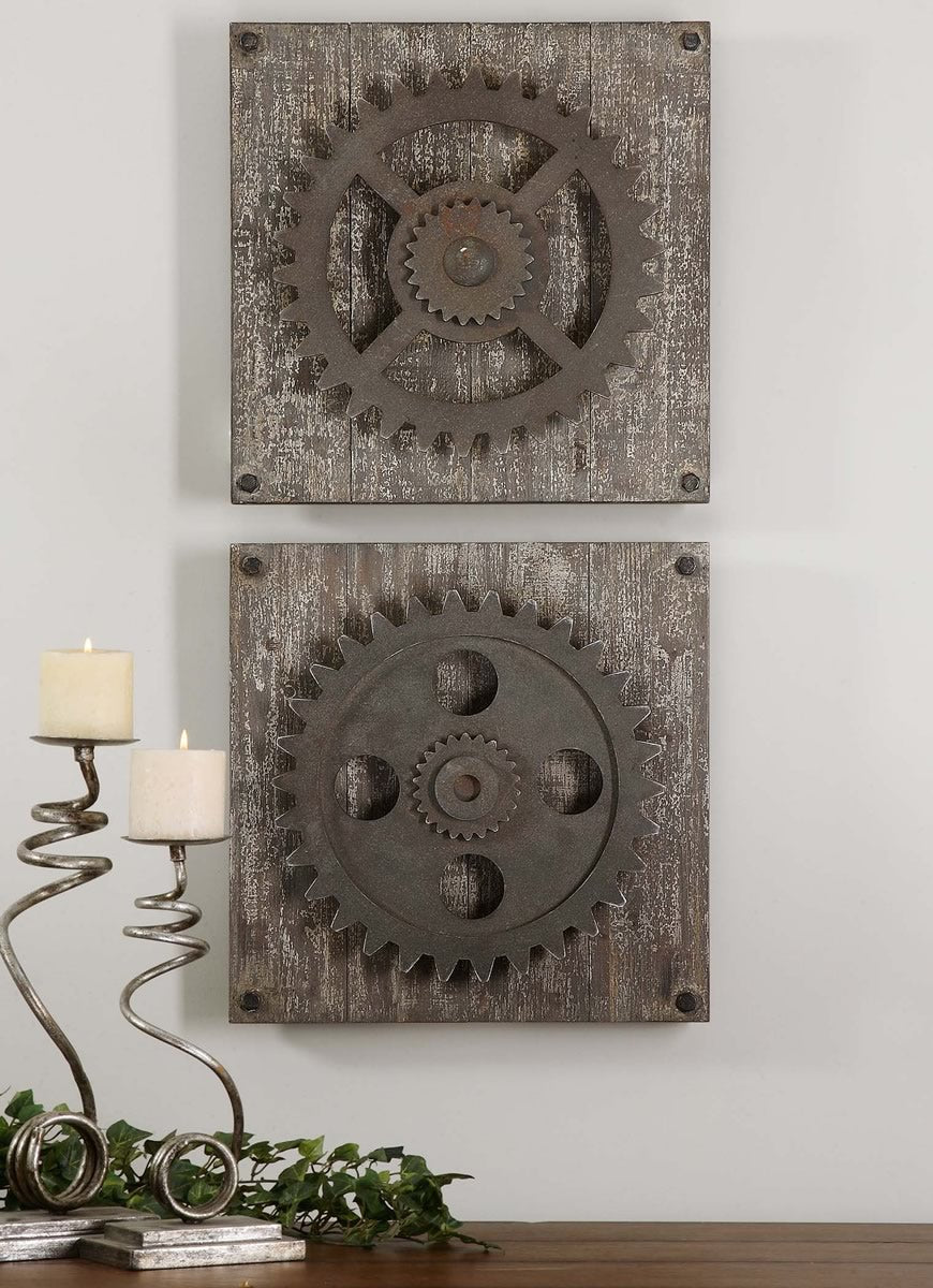 "17""H Rustic Gears Wall Art Set of 2"