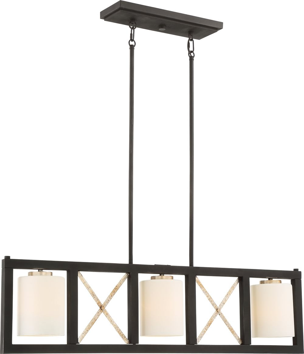 "38""W Boxer 3-Light Pendant Matte Black / Antique Silver Accents"