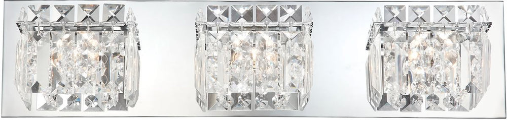 "21""W Crown 3-Light Vanity Chrome/Clear Crystal Glass"