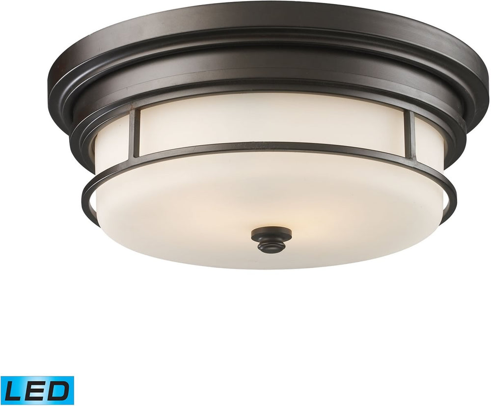 "13""W Newfield 2-Light LED Flushmount Oiled Bronze"