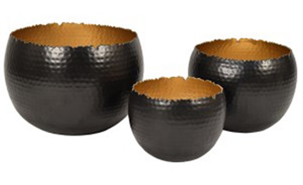 Claudine Bowl Set (Set of 3) Black/Gold