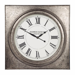 Pelham Wall Clock Antique Silver