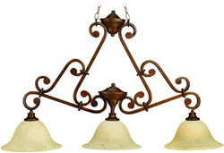 0-000567>Toscana 3-Light Island Pendant Light Peruvian Bronze