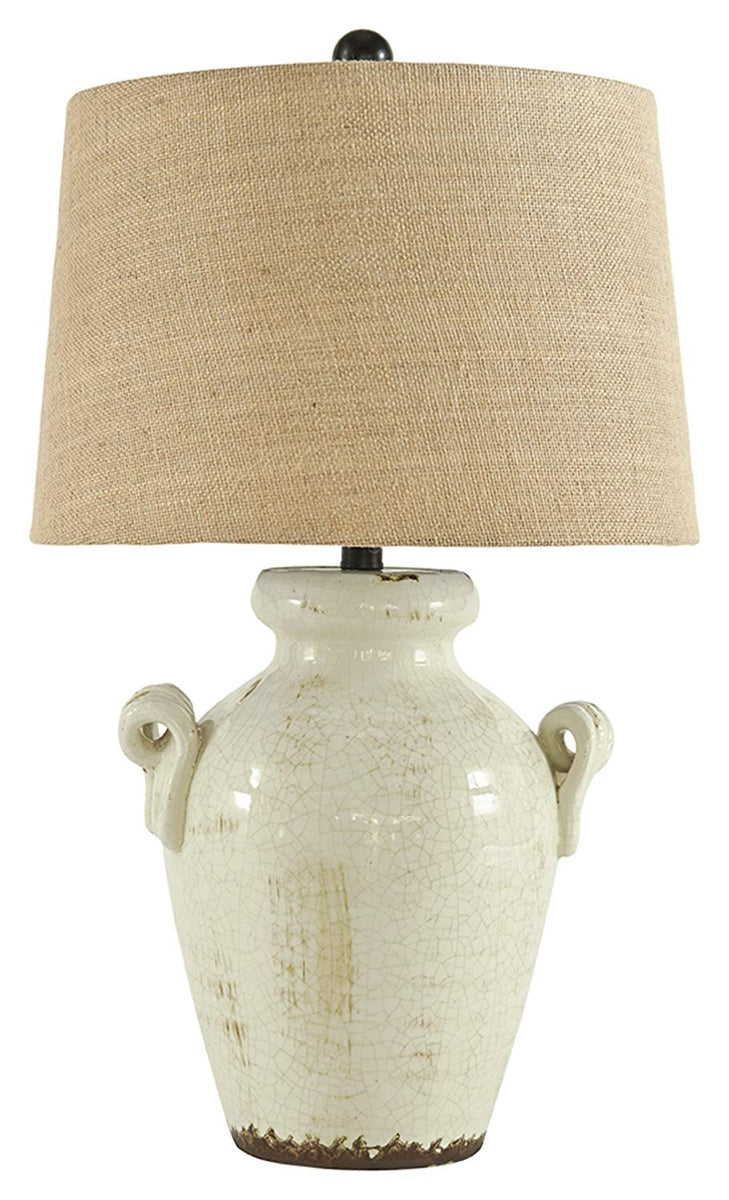 "28""H Emelda Ceramic Table Lamp (1/CN) Cream"