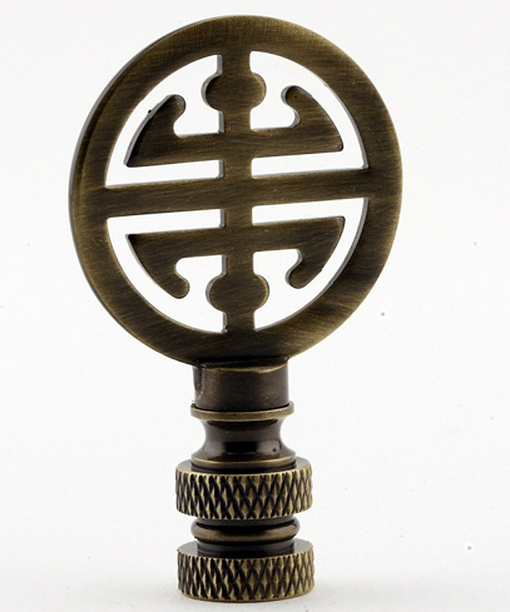 "Classic Asian Design Lamp Finial Antique Brass Metal 2.25""h"