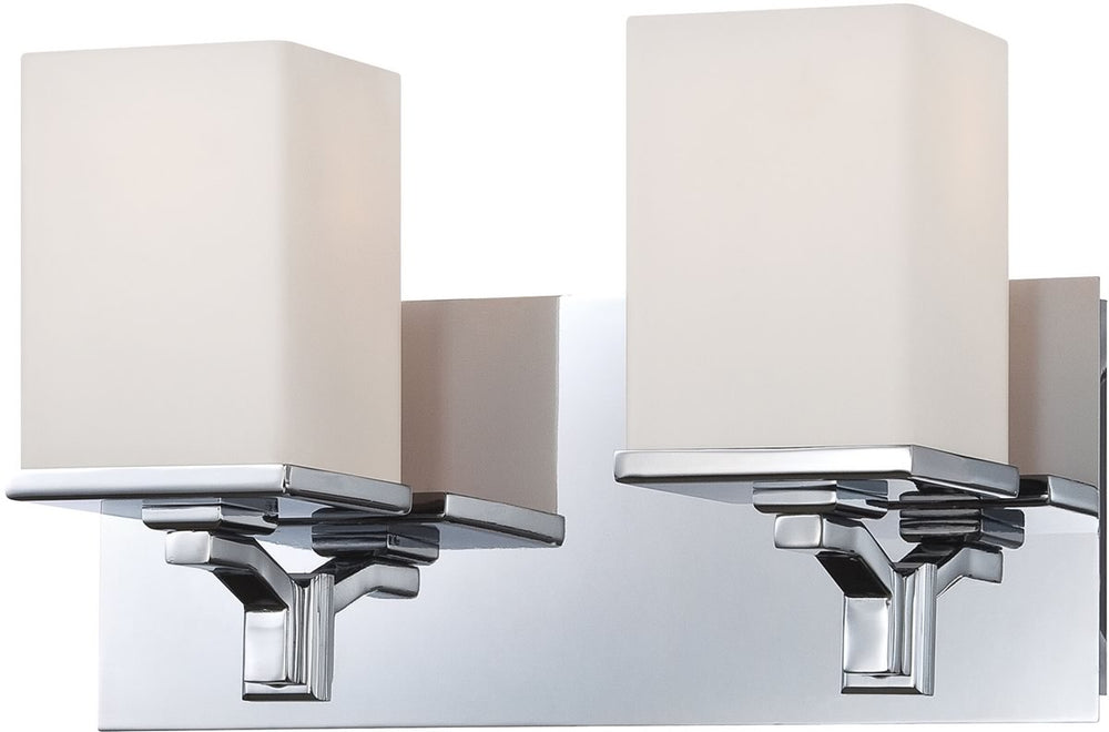 "13""W Ramp 2-Light Vanity Chrome/White Opal Glass"