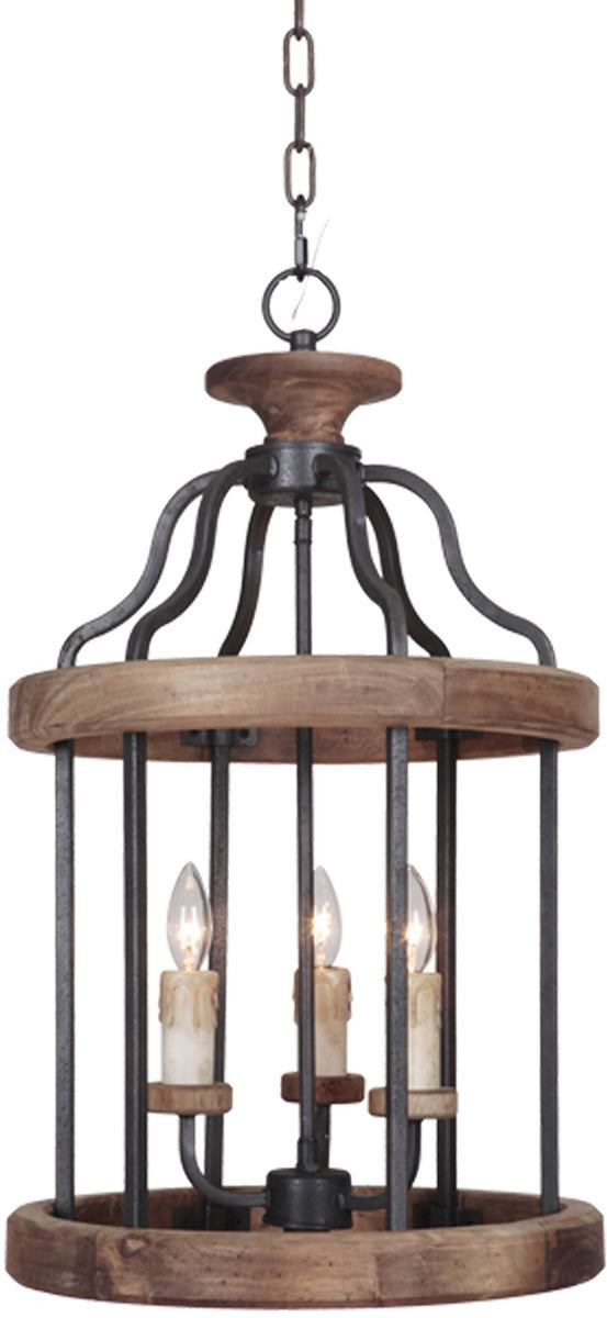 Ashwood 3-Light Foyer Light Textured Black/Whiskey Barrel