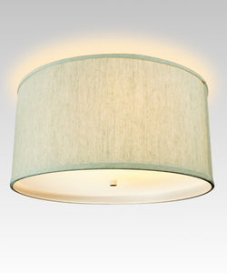 "18""W Moderne Flush Mount Conversion Kit  Textured Oatmeal  Shallow Drum Lampshade"