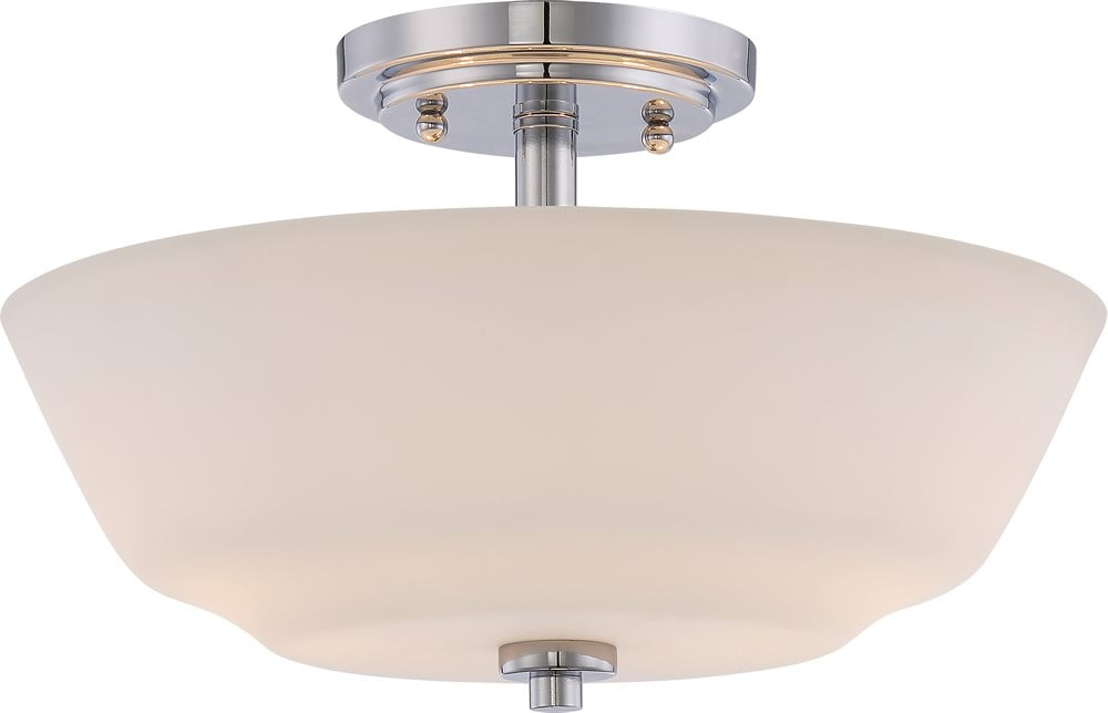 "13""W Willow 2-Light Close-to-Ceiling Polished Nickel"