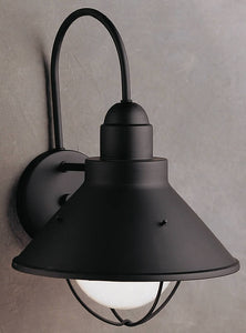 "14""H Seaside 1-Light Outdoor Wall Lantern Black"