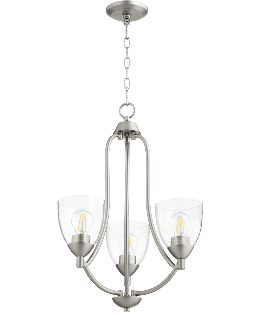 "18""W Barkley 3-light Chandelier Satin Nickel w/ Clear/Seeded"