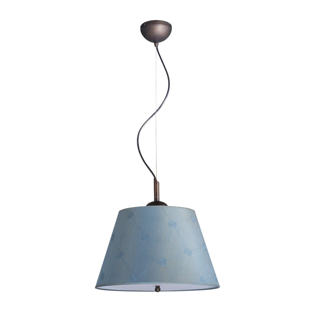 "16""W Gold-laced Cafe Pendant Light with Blue Barrel Shade and Diffuser"
