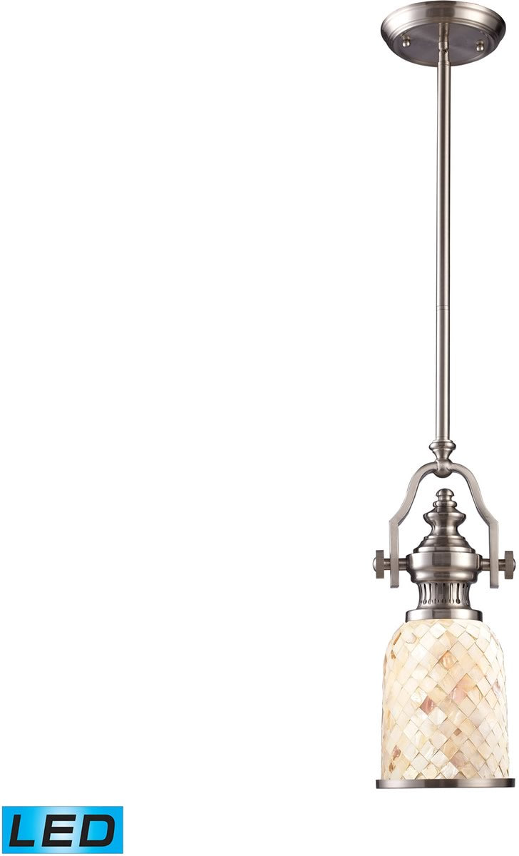 "6""W Chadwick 1-Light LED Pendant Satin Nickel/Cappa Shells"