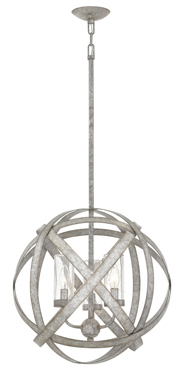 Carson 3-Light Outdoor Chandelier in Weathered Zinc