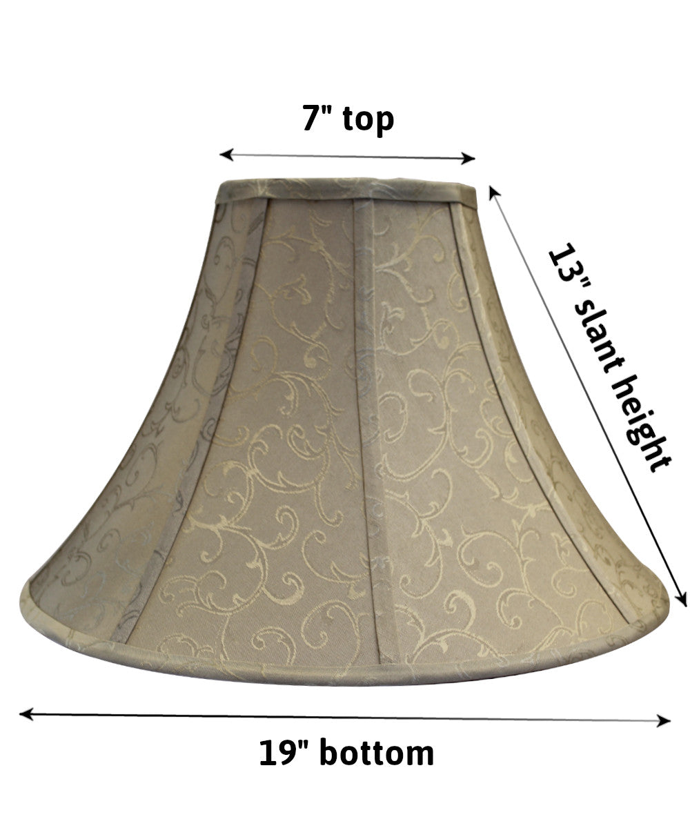 Jacquard Round Bell Soft Back with Piping Lamp Shade 7x19x13 Beige Jacquard Poly Dolan Designs