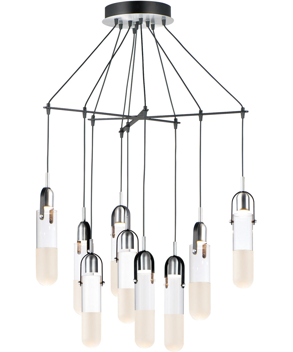 "33""W Capsule LED 9-Light Mini Pendant Black / Brushed Aluminum"