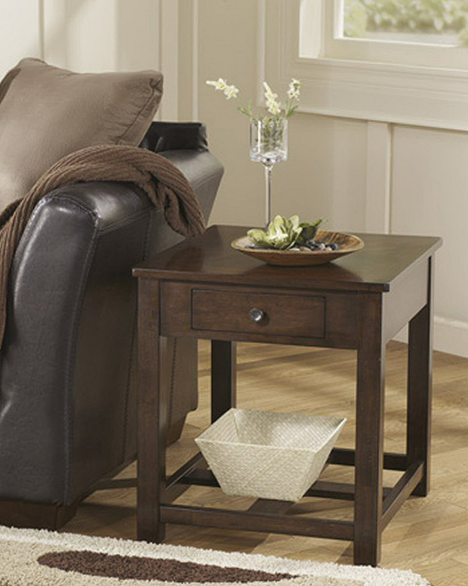"24""H Marion Rectangular End Table Dark Brown"
