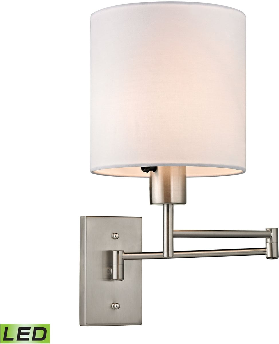 "7""W Carson 1-Light LED Swingarm Wall Sconce Brushed Nickel"