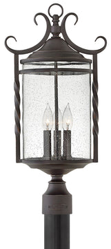 "24""H Casa 3-Light Outdoor Pier Post Light in Olde Black with Clear Seedy"