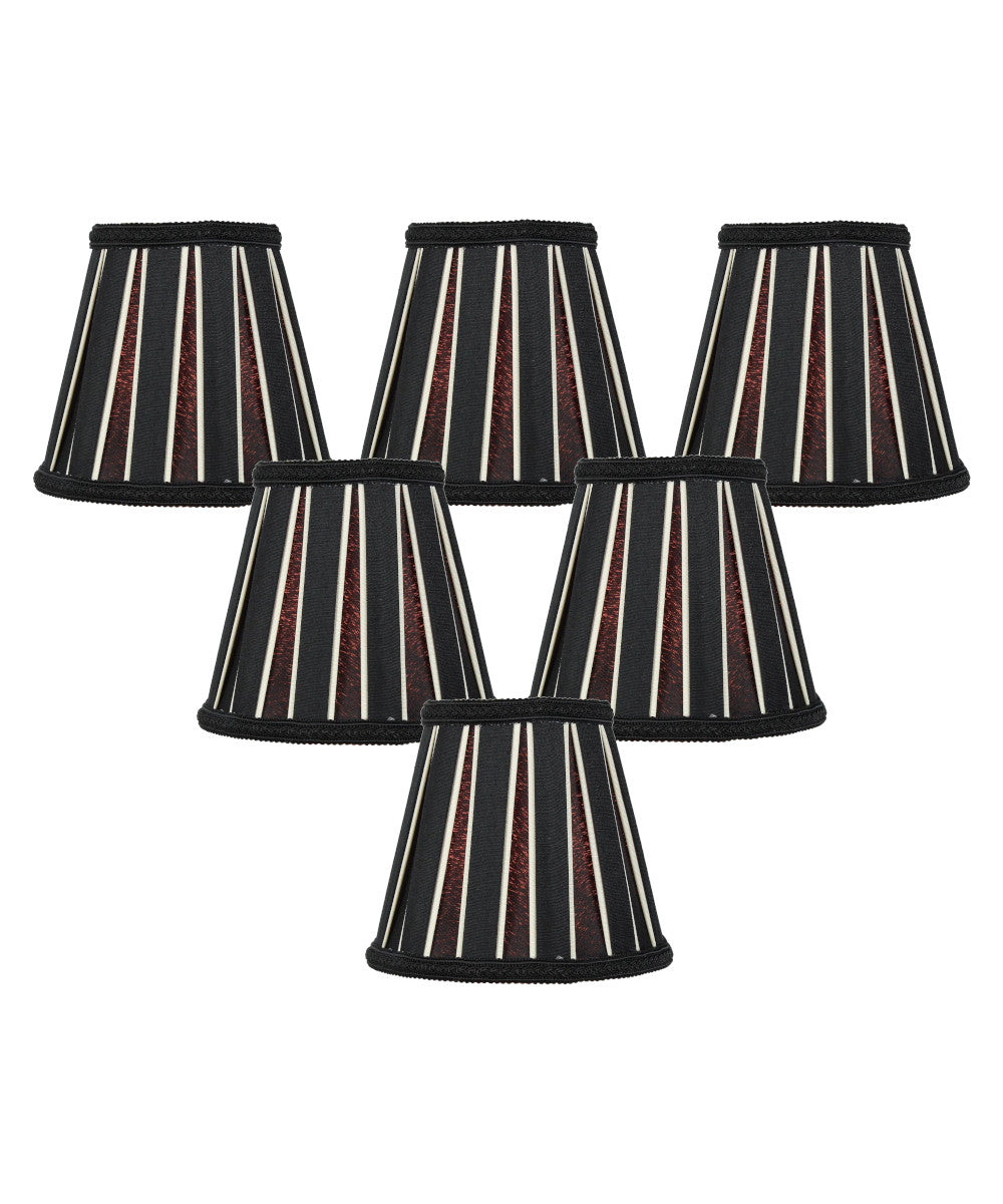"5""W x 5""H Set of 6 Black Eggshell Chandelier Clip-On Lampshade"