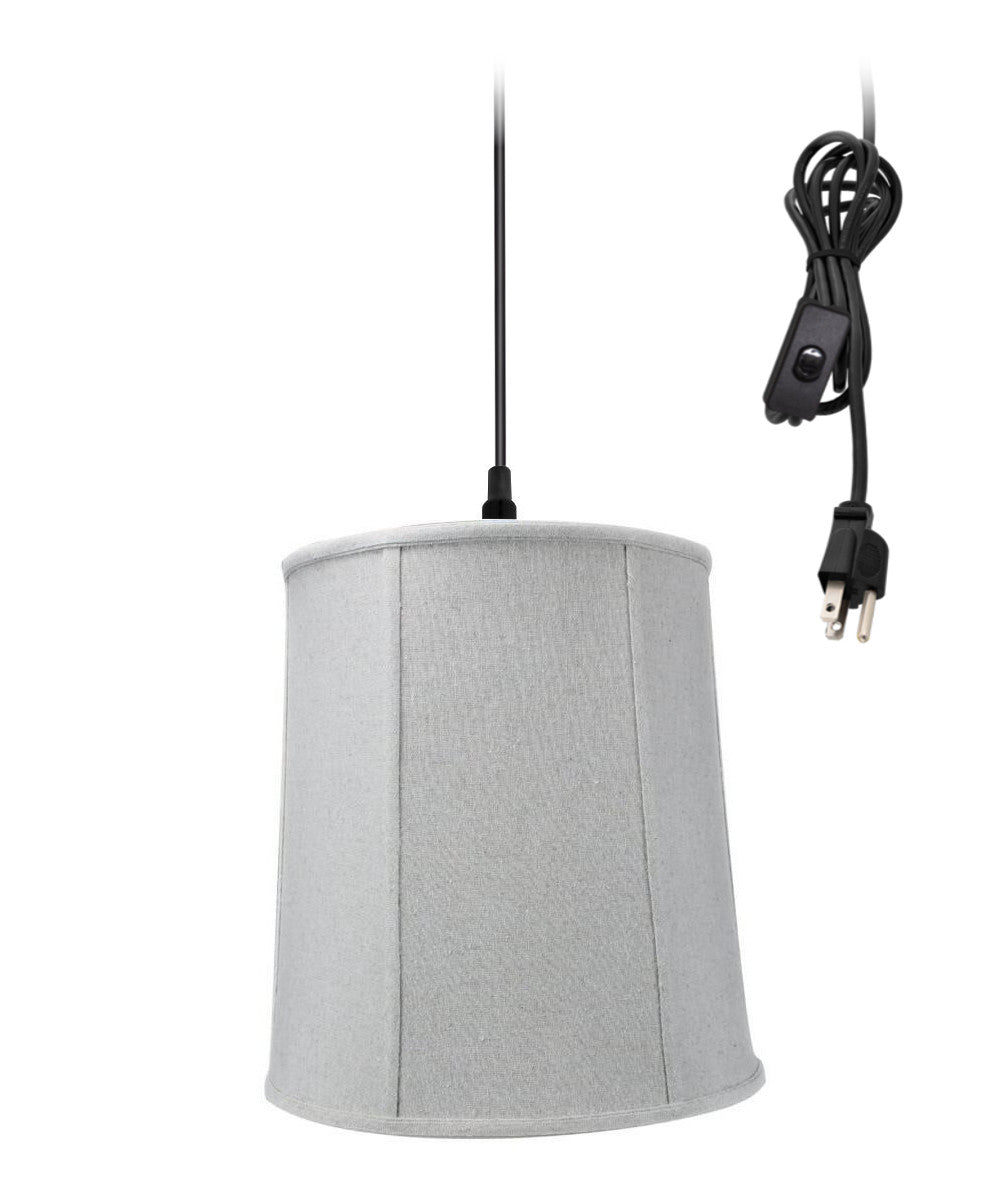 "14""W 1-Light Plug In Swag Pendant Ceiling Light Sand Linen Shade"