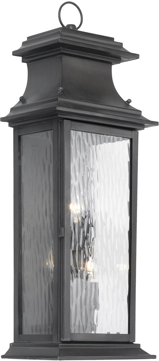 "25""H Provincial Outdoor Wall Lantern Charcoal/Water Glass"
